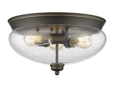 Z-Lite 722F3 Amon 3 Light Flush Mount Ceiling Fixture with Clear Dome Glass Shad Olde Bronze Indoor Lighting Ceiling Fixtures Flush Mount