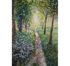 Watercolor Landscape Painting 22.8'' x 16.5'' by MissBlackEyes, $130.00