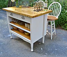 Heir and Space: Antique Dresser Turned Cottage Kitchen Island ~ would be a great island or bar area.