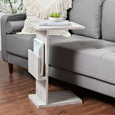 Our Natural Wood C-Table with Magazine Holder will give any space a bit of rustic flair! Whether chairside or bedside, it's both stylish and convenient. C Table, Chair Side Table, Table Storage, Storage Shelves, Bedside Shelf, Magazine Table, Magazine Holders, Storage Hacks, Organizing Your Home