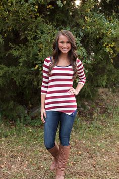 The Pink Lily Boutique - Stripe My Way Blouse, $34.00 (http://thepinklilyboutique.com/stripe-my-way-blouse/)
