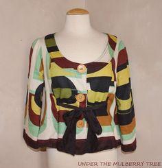ELEVENSES Anthropologie Linen Jacket Top 8 Multicolor Geometric Artsy Tie Unique #ELEVENSES #Blouse