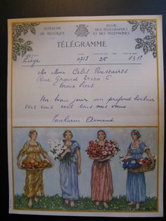 Antique 1941 Original Old Lithograph Telegram Royaume Belgium Royal De Belgique