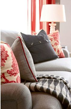 Gray & red pillow patterns