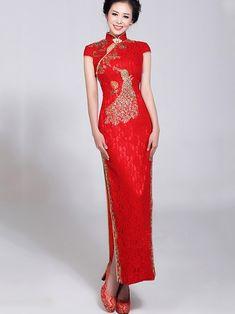 Red Long Cheongsam / Qipao / Chinese Wedding Dress