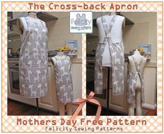 Welcome to the Cross-back Apron FREE PATTERN DOWNLOAD. In the pattern file you will find two separate patterns for the adult and kids aprons; please print each pattern separately to save confusion. This file contains only the patterns and instruction sheets for printing and assembling the patterns the sewing tutorial is posted on the [BLOG page](http://www.felicitysewingpatterns.com/blog/new-free-pattern-cross-back-apron-mothers-and-daugthers) on this website.