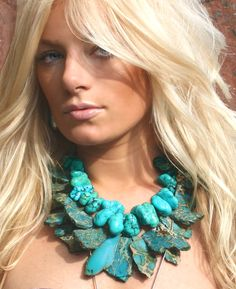 Turquoise Slab and Turquoise nugget necklaces.