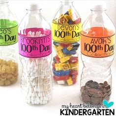 Love this idea for the 100th day of school from @myheartbelongsinkindergarten! She has the labels in her TPT store! #classroompinspirations
