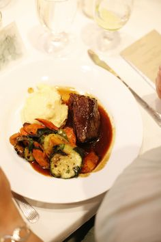 Our mouth watering Malbec braised short ribs paired with a garlic mashed potato puree & roasted veggies! Ravishing Radish Catering | Belathee Photography