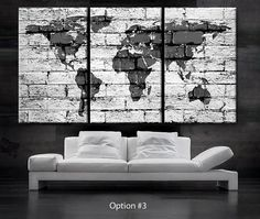"LARGE 30""x 60"" 3 Panels Art Canvas Print beautiful World Map bricks concrete texture painted Wall home office (Included framed 1.5"" depth)"
