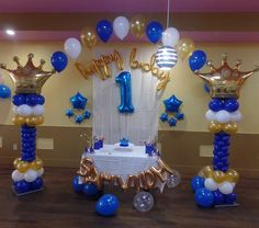 Prince theme first birthday balloon decoration including crown columns and string of pearl arch. First Birthday Balloons, Boys 1st Birthday Party Ideas, 1st Birthday Party Decorations, Balloon Decorations Party, 1st Boy Birthday, Party Themes, Prince Birthday Theme, First Birthdays, Dresses Art