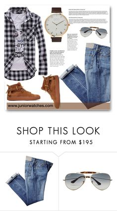 """www.juniorwatches.com"" by edy321 ❤ liked on Polyvore featuring Ray-Ban, BUSCEMI, men's fashion and menswear"