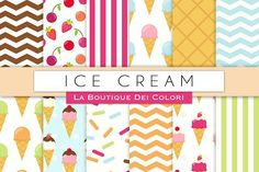 Ice Cream Digital Papers. Patterns. $3.00