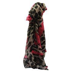 0b8e2418f6344 Foulard avec imprimé style animal léopard marron et coeurs roses fuchsia