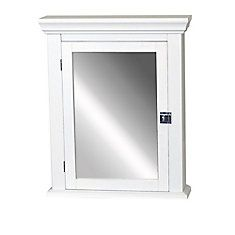 Zenith Early American 22 in. x 27 in. Wood Surface Mount Medicine Cabinet in White at The Home Depot - Mobile White Medicine Cabinet, Wood Medicine Cabinets, Surface Mount Medicine Cabinet, Bathroom Medicine Cabinet Mirror, Bathroom Cabinets, Bathroom Storage, Bathroom Ideas, Bathroom Inspiration, 1920s Bathroom