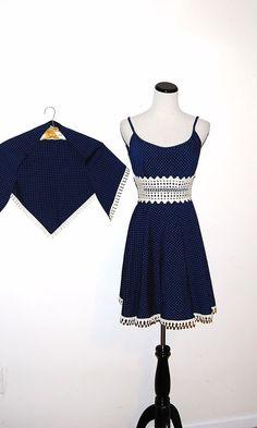 Vintage Dress 60s Navy Polka Dot  with Wrap by CheekyVintageCloset, $122.00