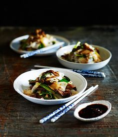 Australian Gourmet Traveller recipe for stir-fried beef with rice noodles and mushrooms.