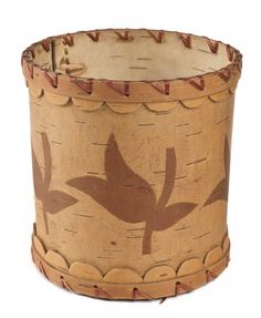 Ojibwe incised birchbark cup with floral pattern and scallops from Grand Portage, Minnesota. - prior to 1930. Found at Minnesota Historical Society, mnhs.org