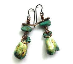 Boho Turquoise Earrings Natural Stone Earrings Eclectic