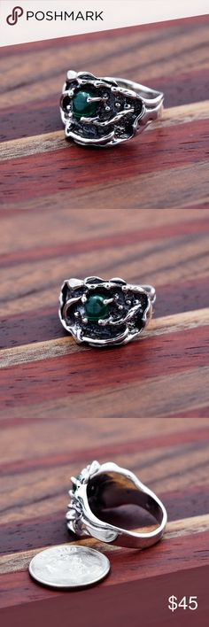 950 Sterling Malachite Ring Hallmark: 950 Size 8 Made in Mexico   Sterling silver is an alloy of silver containing 92.5% by mass of silver and 7.5% by mass of some other metal, usually copper. The sterling silver standard has a minimum fineness of 925.   Will ship in 2 days. Jewelry Rings