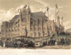 Estampe Provost, 1851 Inauguration Halles centrales
