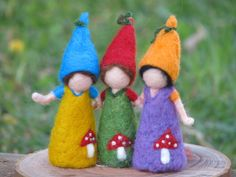 Waldorf inspired Needle felted little gnome friends.