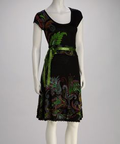 Take a look at this Black & Green Ribbon Dress by Desigual on #zulily today!