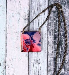 Poppy Handmade wood pendant Resin necklace Red and by AylilAntoniu