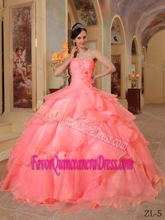 Sweetheart Floor-length Organza Quinceanera Dress with Hand Made Flowers