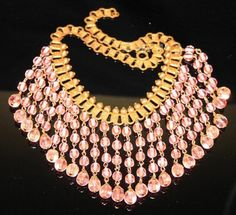 Vintage Art Deco Early Haskell Embossed Book Chain Pink Glass Dangles Necklace