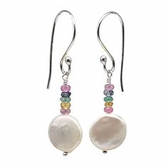 White Coin Pearl and Multi Sapphire Earrings | leannefdesigns Sapphire Earrings, Drop Earrings, Pastel Candy, Hand Wrap, Candy Colors, Precious Metals, Handcrafted Jewelry, Coins, Gemstones