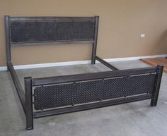 Industrial steel structural I beam bed frame by ModernIronworks