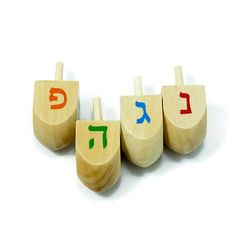 4-Hanukkah-Wood-Dreidel-Sevivon-Game-Kids-Jewish-Judaica-Children-Gift-Craft