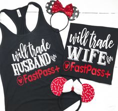 Will Trade Husband, Wife, Brother For A Fastpass, Disney Rose Gold, Di – iGotBlissed Funny Disney Shirts, Funny Kids Shirts, Matching Disney Shirts, Disney World Shirts, Disney Couples, Disney Tees, Disney Shirts For Family, Disney World Vacation, Disney Diy