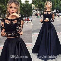 Black Lade Long Two Pieces Formal Prom Dresses A Line Long Sexy Women Evening Gown 2016 Long Sleeves Prom Dressess Middle School Prom Dresses One Shoulder Prom Dress From Rosemarybridaldress, $136.13| Dhgate.Com