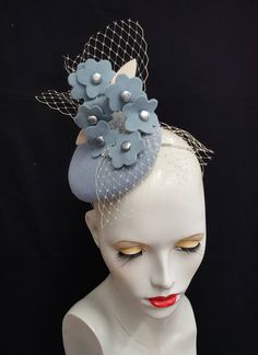 pale baby blue button fascinator cocktail hat with felt flowers beads and veiling headband fixing multitude of positions Ascot races wedding by SHMillinery on Etsy