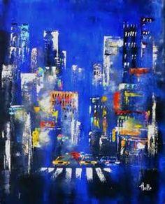 Polyptyque pentaptyque pont de brooklyn de nuit - Grand tableau new york ...