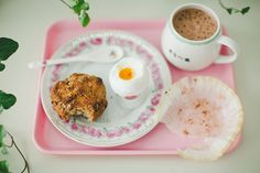 walnut scones, boiled egg, hot oat chocolate