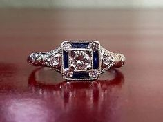 Antique Art Deco 18k White Gold Diamond and Synthetic Sapphire Ring .45cttw