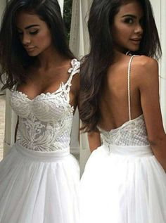 Elegant Sweep Train Backless Wedding Dress with Lace Top Spaghetti Straps