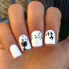 Dandelion nail art is a popular flower nail art around the world with young ladies always eager at getting cute nail art designs Dandelion Nail Art, Bird Nail Art, Cool Nail Art, White Dandelion, Black White Nails, Black And White Nail Designs, White Nail Art, Nail Designs 2015, Cute Nail Designs