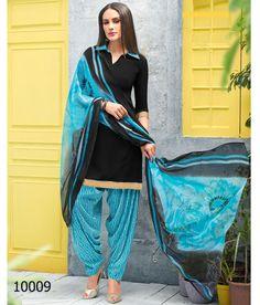 King Sales New Fancy Latest Black Printed Crape Patiala Suit