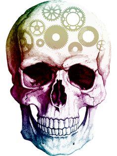 Free Image on Pixabay - Skull, Cogs, Thinking, Human, Brain Colorful Skulls, Cogs, Skull Design, Black N White Images, Free Pictures, Artwork Prints, Digital Image, Printing Services, Illustration
