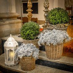 Boj, paniculata y velas. Decoración ceremonia