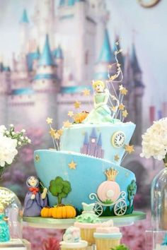 Take a look at this precious Cinderella-themed 1st birthday party! The cake is so beautiful! See more party ideas and share yours at CatchMyPartyy.com  #catchmyparty #partyideas #cinderella #cinderellaparty #princessparty #princess #girlbirthdayparty