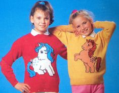 My Little Pony knitting pattern sweaters for children and adults dk or 4 ply intasia charts vintage character knitting