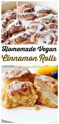 Ditch the packaged rolls and make these delicious homemade vegan cinnamon rolls. No artificial anything and sooo good! #vegan #breakfast veganosity.com