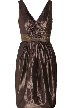Carmen Marc Valvo Embellished coated-crepe dress - 60% Off Now at THE OUTNET