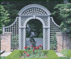 Special Formal Arbor with Bench - Walpole craftsmanship invariably complements our customers imaginations. Here, we brought their vision to life with a magnificent backdrop to a brick-enclosed rose garden. Vinyl Pergola, Wood Pergola, Pergola Shade, Pergola Canopy, Arbor Bench, Wood Arbor, Garden Trellis, Garden Gates, Walpole Woodworkers