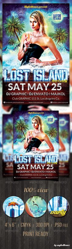 Lost Island Party Flyer